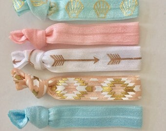 hair tie bracelets, party favour, beach bracelets, mermaid jewelry, boho style, friendship bracelets, girl gift, bohemian jewelry
