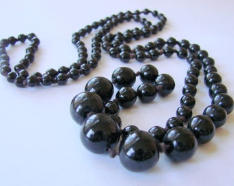 "Vintage Flapper Graduated Black Glass Bead Necklace 38"" Hand Knotted Antique Jewelry Jewellery"