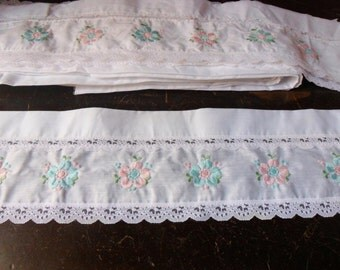 Curtain Valance Pieces, 10 yards, Narrow Embroidered White Floral Lace Remenants