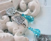 Peacock Rêveur Earrings Victorian Bridal Turquoise Blue Crystal Earrings, Something Blue