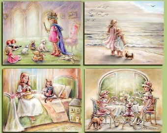 Girl childhood art, Sets 2- 4 Prints - Princess, teatime, Beach, Kitty, Dolls, pretend play, signed, fine art paper,  Laurie Shanholtzer