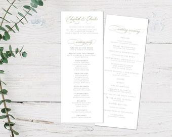 Wedding Program, Script Wedding Ceremony Program, Wedding Program Printable, Script, Calligraphy