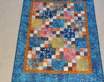 Batik Wall Quilt in Blues