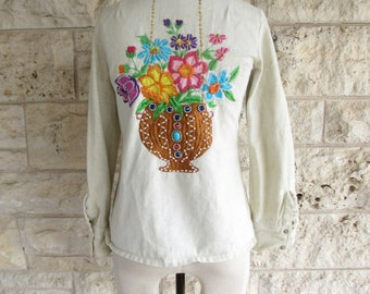 Embroidered Pearl Snap 70s Hippie Embroidered Jacket Western Shirt Jacket Hanging Planter Blouse  Floral Pearl Snap Unique 70's Top Small