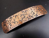 XL Hammered Antiqued Copper Hair Barrette.  Simply Textured: antiqued copper extra large metal barrette for thick hair.