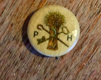 Vintage Whitehead and Hoag Patrons of Husbandry Wheat Key Pinback Button