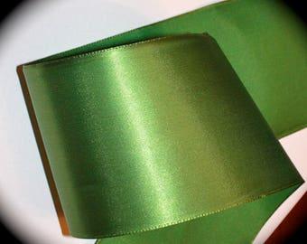 "Satin Ribbon- 3 1/8""   All Rayon Vintage 1940's Beautiful  Leaf Green - Stunning Trim - HUGE SALE"