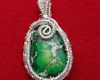 Petite Green Sea Sediment Jasper Wire Woven & Wrapped Pendant
