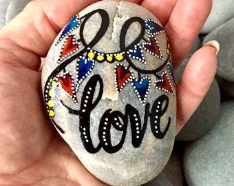 love is the answer / painted rocks / painted stones / paperweights / valentines / word stones / hand painted rocks / desktop art / rocks