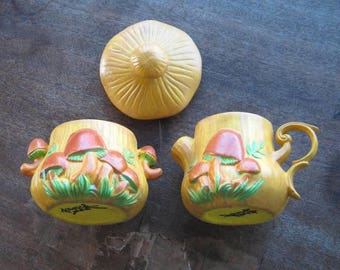 1970s-'80s Vintage Mushroom-Embellished Creamer & Sugar with Toadstool Cap~Retro Woodland/Hippie/Whimsical/Fairy Serving Pieces