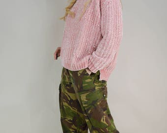 90s Pastel Goth Baby Pink Soft Chenille Chunky Sweater Jumper S / M