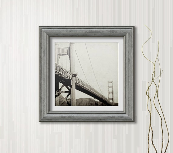 1933 | Vintage inspired Golden Gate Bridge photography print | Fort Point San Francisco art print | black and white home decor | wall art