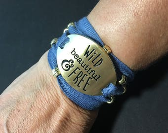 Summer handmade and stamped oval brass plate bracelet with blue cotton string