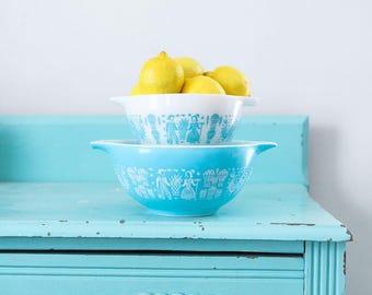 Vintage Pyrex Butterprint Rooster Farmer Print mixing bowl set, turquoise Pyrex bowl,  Pyrex Cinderella Bowls, Pyrex Nesting Bowls
