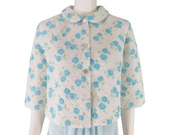 50s/60s Quilted Nylon Bed Jacket With Blue Roses - sm, med, lg