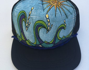 Ready to Ship - Islander Boy - Trucker Hat - Hand Painted - by Roupolimama