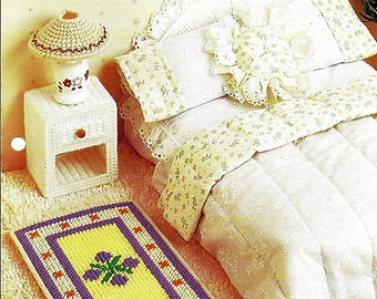 Wicker  & Lace Bedroom / Barbie Furniture Plastic Canvas Patterns Annies Attic FP13-03
