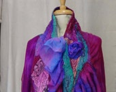 Reserved for Princess Felted cape, Vintage style ,women top,handmade scarf, USA, gypsy scarf, boho scarf,ocean colors , fairy scarf,  tippet