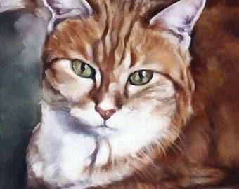 Custom Pet Portrait, Cat Portrait, Animal Art, Custom Paintings, Oil Painting, Cat Painting, 8x10