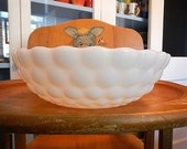 Bubble Bowl Serving Anchor Hocking Fire King White Milk Glass
