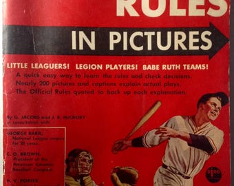 Vintage Baseball Rules in Pictures book guide by G Jacobs J R McCrory 1957