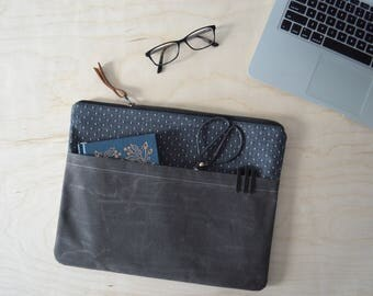"Laptop Sleeve with Zipper in Black Dot and Waxed Canvas - Macbook Air 13"" Sleeve - Macbook Case - Laptop Bag - Graduation Gift"
