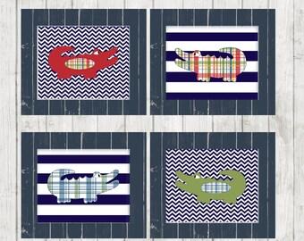 alligator print, alligator nursery, boy's room decor, alligator wall art, alligator bathroom, alligator madras, chevron nursery