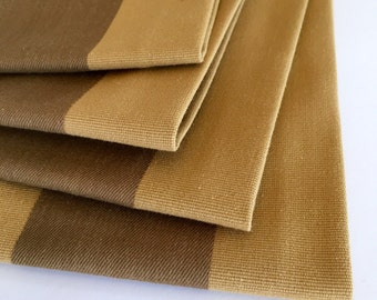 SALE!! Cloth Napkins - Gold and Brown Stripe Cloth Napkins - Set of 4 - Eco Friendly - Fabric Napkins - Gift