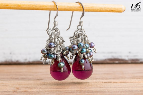Purple Cluster Earrings in Sterling Silver with Czech Glass and Freshwater Peacock Pearls