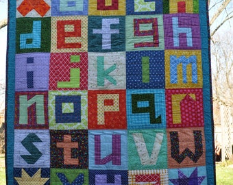 Alphabet quilt or blanket unique multicolor design with lower case letters for baby boy/girl, child, teacher, classroom, play, display, gift