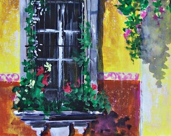 "Original painting of old yellow and window with flowers in San Miguel de Allende Mexican town original art acrylic on board 11 ""x 14"""