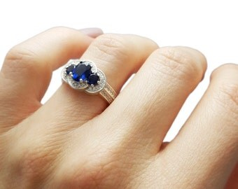 Sapphire and Diamond Ring, Unique Engagement Ring, 1.7 Carat Sapphire Ring, Wedding Band, Vintage, Art Nouveau Ring, Fast Free Shipping