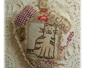 Le Chat- Scented Sachet, patchwork, primitive hand drawn, hand embroidered in Australia