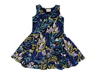 Wandering Floral Twirling Dress on Black - Hand Printed - Organic Dress - Easter Dress - Eco - Slow Fashion - Twirling Dress - Thief&Bandit®