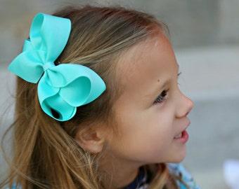 Aqua Large Hair Bow