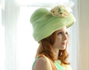 RESERVED Vintage 1960s green hat, huge pastel floral formal tulle, Henry Margu