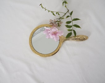 Vintage Golden Enameled Brass Hand Mirror