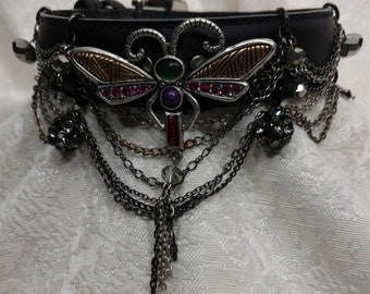 Lady's Jeweled Leather Collar, A Truly Unique Choker with Beautiful Dragonfly Centerpiece