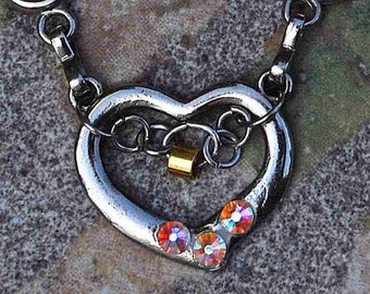 NECKLACE, heart, silver ,mounting block, brass, AB Swarovski,  romantic, adorable, delicate,  cheerful, fine, sweet, lovely, Tamara Cyprus