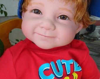 "Reborn 22"" red headed Toddler Doll ""Logan - Cute as a Bug"""