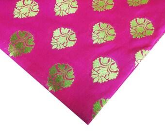 Hot Pink and Gold Wedding Dress Fabric - Indian Silk fabric - Pink and Gold Silk Fabric by Yard - Sewing Crafting Costume Banaras Silk
