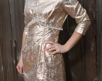 Killer 1960s 1970s Gold Metallic Cocktail Dress with Iridescent Bead Trim SIZE SMALL/MEDIUM