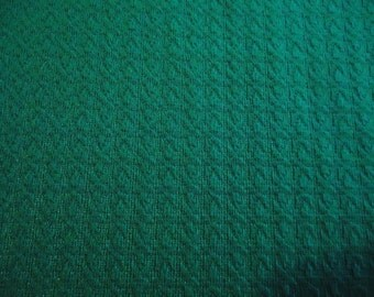 Vintage Aqua Green Ribbed Knit Fabric