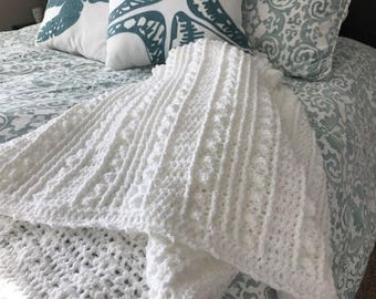 Clare Spring & Summer Afghan - White