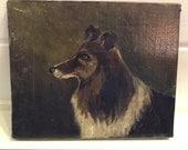 Reserved French Dog Portrait Oil Painting, folk art