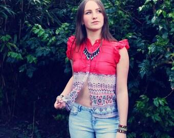 Bohemian Top Blouse XXS - S Split Shirt Boho Hippie Women's Upcycled Clothing Recycled Eco Friendly OOAK