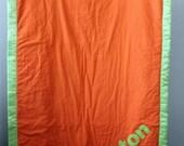 Custom Listing for Karen - Personalized Toddler Blanket - Construction - Orange and Green - ASHTON