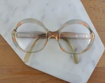 Women's Playgirl Eyeglasses Frames, Vintage Glasses, Oversized Frames, Peach & Green Mottled Secretary Glasses, 1980's Made in France