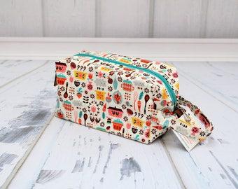 Vintage kitchen Pyrex fabric Small boxy bag,Knitting Boxy Project Bag, Knitting Project Bag. Sock Knitting bag. Crochet bag,zippered box bag