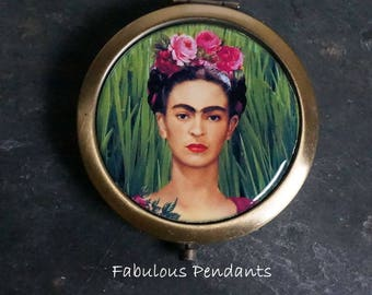 Compact Mirror Purse Mirror Pocket Mirror Handbag Mirror Frida Kahlo Mexican Artist  Bridesmaids Gift